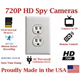 SecureGuard Power Receptacle Wall Outlet 720P Spy Camera SD Card DVR Nanny Camera (WHITE) (Color: white)