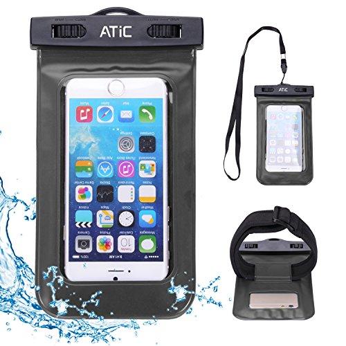 ATiC ストラップアームバンド式両用透明防水ケース - iPhone 6 / 6 Plus / 5 / 5S / 4 / 4S, Samsung Galaxy S6 / S6 Edge / S5 / S4 / S4 Active, Note 4, iPod Touch 3 / 4 / 5, HTC ONE X / ONE S Z520E / ONE M9, Windows Phone 8 ( ATT, T-Mobile, Verizon ), Motorola DROID RAZR / LG G2 / G3 / Droid Turbo, LG G Flex 2, Nexus 4 / Nexus 6, Nokia Lumia 920, 820, Sony Z1 / Z2 / Z3(5.7インチ以下の携帯)に適用ストラップアームバンド式両用防水 ケース。防水保護等級 : IPx8。BLACK