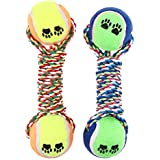 Rrimin Colorful Dumbbell Rope Tennis Pet Chew Toy Puppy Dog Clean Teeth Training