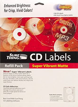 MicroVision SureThing i073731 Premium CD Labels (Matte, 100-Count)