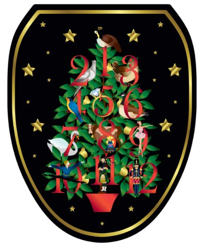 Toilet Tattoos Tt-X620-O 12 Days Of Christmas Decorative Applique For Toilet Lid, Elongated