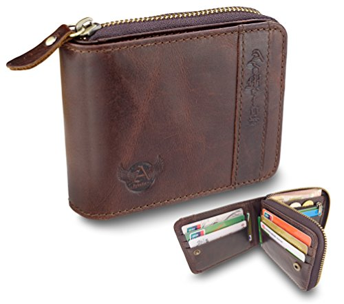 Admetus Men's Genuine Leather Bifold Zip-around Wallet with Elegant Gift Box