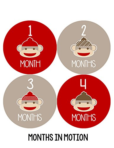 Months in Motion 049 Monthly Baby Stickers Red Sock Monkey Months 1-12 Milestone