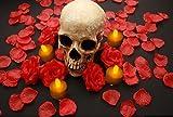 【ELEEJE】 ドクロ スカル 闇パーティ に 赤い バラ と バラの花びら を 、 着火不要! 揺らめいて見える LEDキャンドル の セット ( 赤バラ と 花びら )