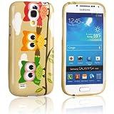 tinxi® Schutzhülle für Samsung Galaxy S4 Mini Hülle TPU Silikon Rückschale Schutz Hülle Silicon Case drei bunte Eulen Owl Muster