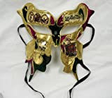 Pink, Green and Gold New Orleans Butterfly Mardi Gras Mask