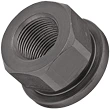 "12L14 Steel Flange Nut, Black Oxide Finish, Metric Coarse 6H Threads, 1/4""-28 Thread Size, 3/8"" Width Across Flats, Pack Of 5"