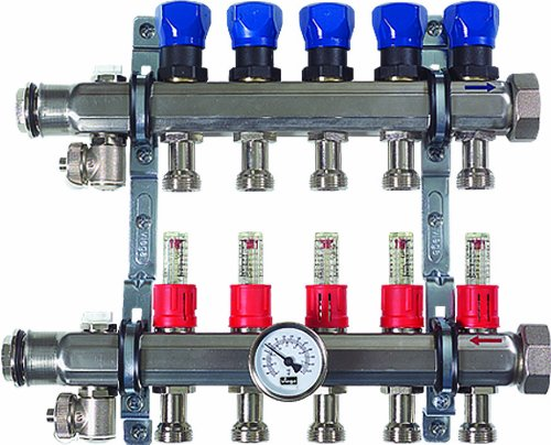 Viega 15901 ProRadiant Stainless Manifold Shut-Off/Balancing/Flow Meter with 3 No. of Outlets (Radiant Floor Heating Controls compare prices)