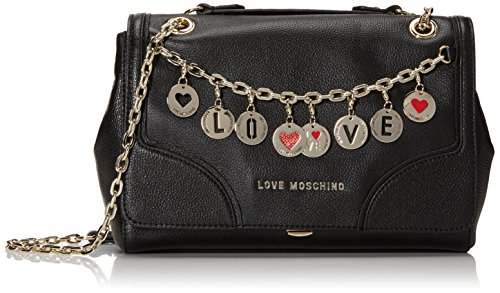 Love Moschino Charms Flap Shoulder Bag, Black, One Size