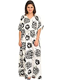 Exotic India Winter White Long Kaftan With Giant Printed Flowers And Dor - White
