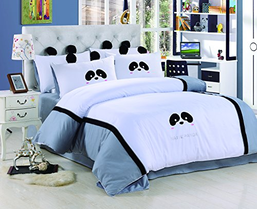 YOYOMALL 100% Cotton Cute Panda White Bedding Set,Delicate Embroidered Patch Craft Cover Set for Kids Twin Queen Size. (Queen)