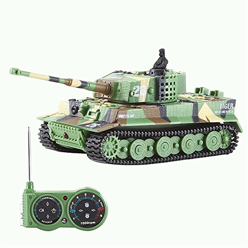 Giveme5 German Tiger I Panzer Tank with Remote Control, Battery, Light, Sound, Rotating Turret and Recoil Action When Cannon Artillery Shoots, Mini 1:72 Scale, Dark green