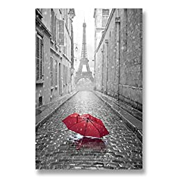 Neron Art - Hand painted Cityscape Oil Painting on Rolled Canvas for Living Room Wall Decor - Paris Grey Umbrella Red 32X48 inch