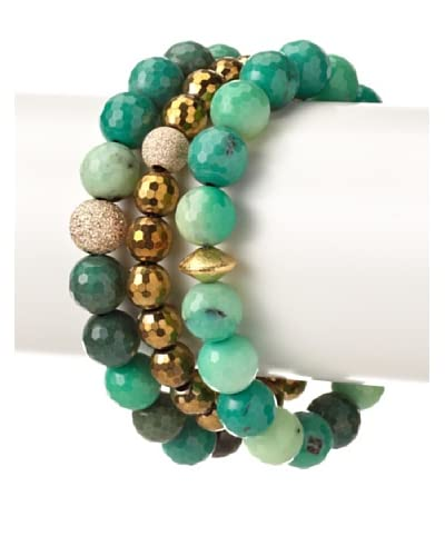 Sisco + Berluti Green Agate & Gold Pyrite Bracelet Stack