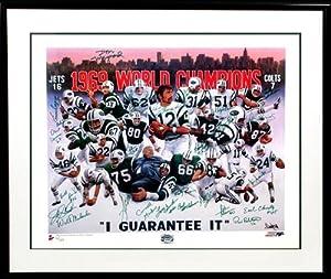1969 New York Jets Super Bowl Championship Team Signed PSA DNA Litho-24x30 by NFL