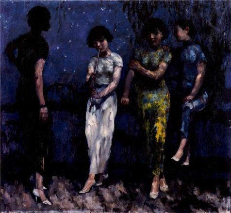 Oil Painting 'Xu Beihong,Moonlit Night,20th Century', 12 x 13 inch / 30 x 33 cm , on High Definition HD canvas prints is for Gifts And Bath Room, Garage And Kids Room Decoration, huge