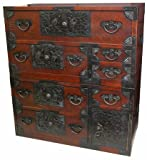 Oriental Furniture Asian Furniture and Home Decor 37-Inch Japanese Design Double Stacked Emporer's Tansu Cabinet