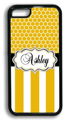 Personalized Monogram Iphone 5C Case - Yellow Honeycomb Pattern And Stripes With Black - Monogrammed Case For Iphone 5C Case Fits All Carriers front-108135