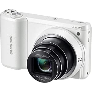 Samsung WB800F 16.3MP CMOS Smart Touchscreen Wi-Fi Digital Camera 1080p HD Video Movies 21x Optical Zoom (White) - {Brown Box Packaging}