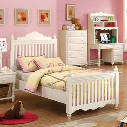 Adriana White Finish Twin Size Bed Frame Set