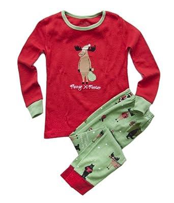 Hatley  Little Boys' Polo Pajama Set - Christmas Animals,Red/Green,7