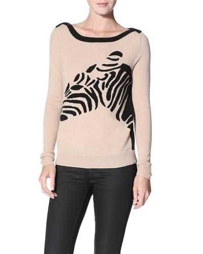Shae Women's Cashmere Zebra Sweater  - Twine Combo