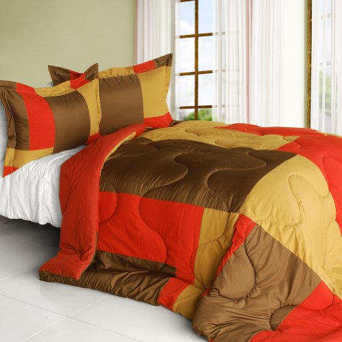 [Red Teahouse] Quilted Patchwork Down Alternative Comforter Set (King Size) front-48505