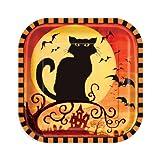 10 Pappteller Spooky Hollow 18cm - Halloween Tischdeko Partydeko Geschirr Katze