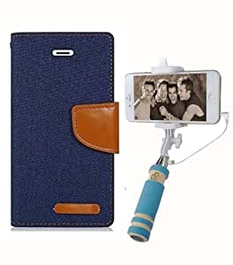 Aart Fancy Wallet Dairy Jeans Flip Case Cover for OnePlusOnePlus2 (NavyBlue) + Mini Fashionable Selfie Stick Compatible for all Mobiles Phones By Aart Store