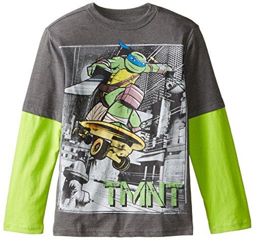 Teenage Mutant Ninja Turtles Big Boys' City Skating Long Sleeve Two-Fer, Charcoal Heather/Neon Green, Medium