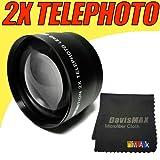 58MM 2X Telephoto Lens Includes LIFETIME WARRANTY Lens Caps Lens Bag and DavisMAX FiberCloth for Canon EOS 50D 60D 5D MARK II 7D 1D & MORE!