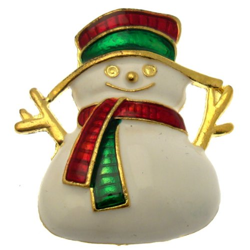 Acosta Brooches, tonalità oro con smalto bianco, design Festive Jack Frost-Spilla a forma di pupazzo di neve, colore: oro, confezione regalo, motivo: gioielli