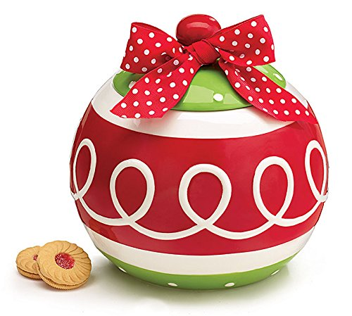 Christmas Ornament Cookie Jar with Red