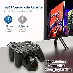 PS4 Controller Charger Charging Station, Dual Shock 4 Controller Charger Playstation 4 Twin Charge Docking Station for Sony PS4/Pro/PS4 Slim Controller - Black (Color: Black, Tamaño: Round)