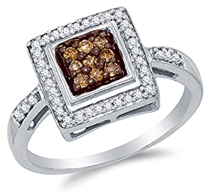 Size 8 - 10K White Gold Chocolate Brown & White Round Diamond Halo Circle Engagement Ring - Channel Set Square Princess Center Setting Shape (1/4 cttw.)