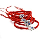 """5pcs """"Lucky"""" Hamsa Red String Kabbalah Bracelets Braided String and Rotating """"Evil Eye"""" Hamsa Hand - Jewish Judaica Amulet Pendant Jewelry for """"Success and Protection""""ustable Red String"""