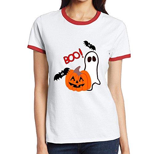 NNTBJ Women¡¯s Halloween Boo Pumpkin Patchwork Short Sleeve Tshirt Red (Cute Halloween Pic)