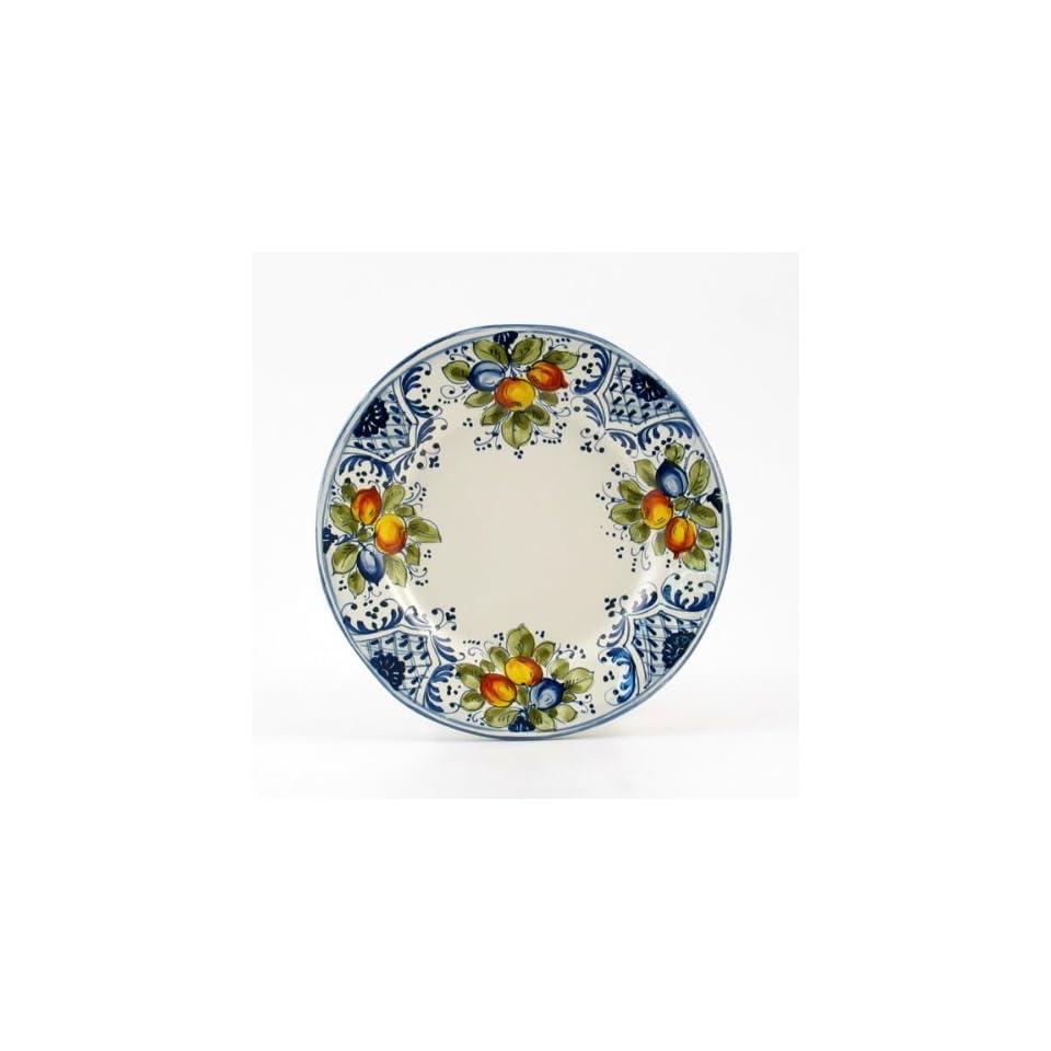 Hand Painted Italian Ceramic 8.2 inch Salad Dessert Plate irregular shape Frutta Blu   Handmade in Montelupo, Tuscany