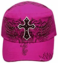 EH1222DC - Unisex 100% Cotton Cross and Rhinestone Wings Accent Army Military Cadet Hat / Cap - Hot pink/One Size