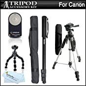 "Amazon.com: Triple Tripod Kit + Wireless Shutter Release Remote Control For Canon EOS Rebel T4i, T3i, T2i, T1i, XT, Xti, 5D, 7D DSLR (Canon RC-5 & RC-6 Replacement) Includes 57"" Full Tripod + 67"" Monopod + 10"" Flexible Tripod + Wireless Shutter Release + More: Camera & Photo"