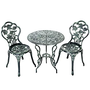 Giantex Patio Furniture Cast Aluminum Rose Design Bistro Set Antique Green (Green)