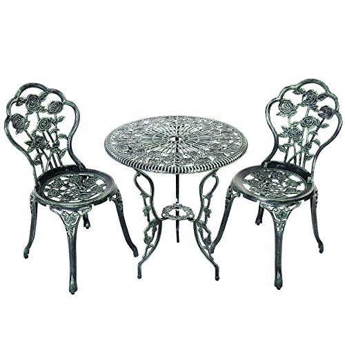 Giantex Patio Furniture Cast Aluminum Rose Design Bistro Set Antique Green (Green) 0