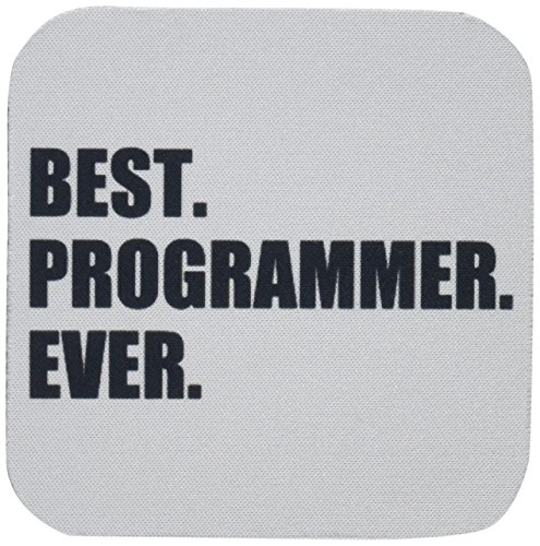3dRose cst_185015_2 Best Programmer Ever, Fun Gift for Talented Computer Programming, Text Soft Coasters, Set of 8