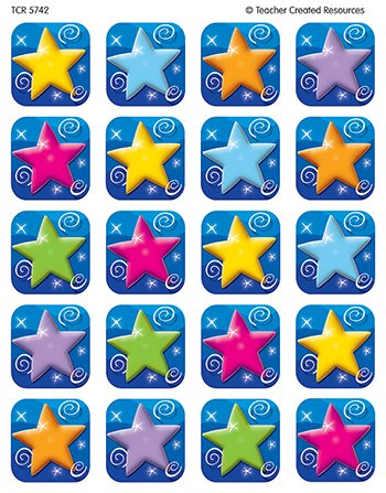 20 Pack TEACHER CREATED RESOURCES COLORFUL STARS STICKERS 120 STKS