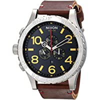 Nixon 51-30 Chronograph Stainless Steel Leather Band Men's Watch (Black/Brown)