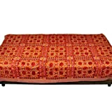 Little India Mirror Embroidery Hand Work Cotton Single Bed Cover - Brown  (DLI3SBS501)