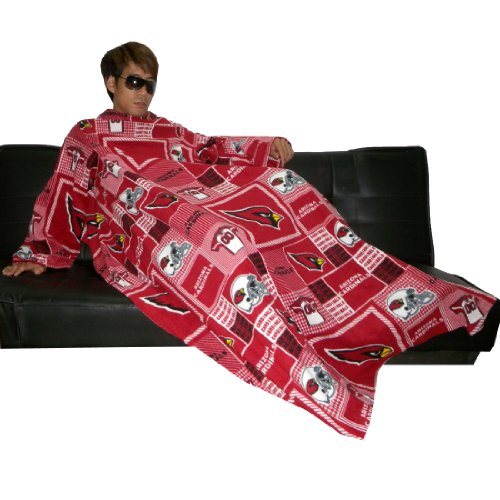 NFL Arizona Cardinals Large ソファー枕にスリーブそれは畳に毛布を投げるThrow Blanket With Sleeves that folds into a Couch Pillow - レッド&ブラックRed & Black