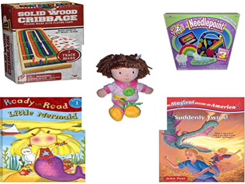 """Girl's Gift Bundle - Ages 6-12 [5 Piece] - Solid Wood Folding Cribbage Set Game - Great 2 Create Needlepoint Makes 3 Projects. Toy - DD Traders Activity Doll Learn To Dress Plush 12"""" - Ready To Read"""