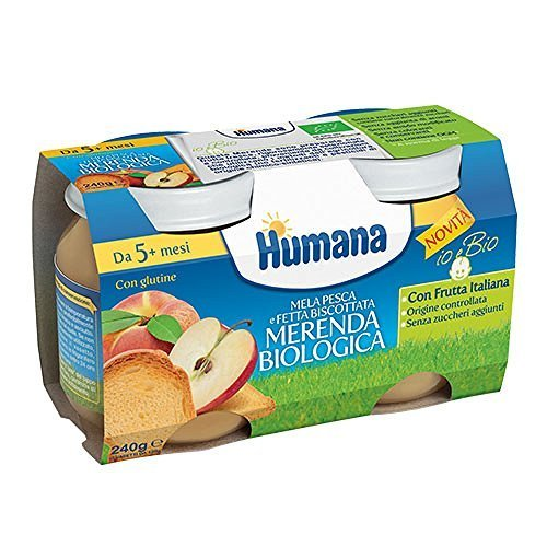 Humana merenda biologica, mela pesca fetta biscottata 2x120gr