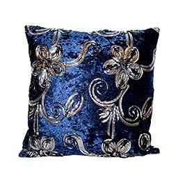 40x40 Designer Vintage Style Cushion Blue Velvet Feel with Black & Silver Trim